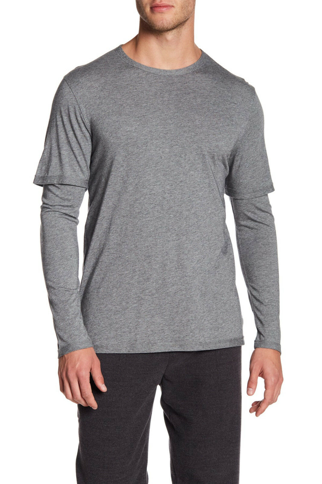 VME210 DOUBLE NWT VINCE DOUBLE VME210 LAYER SLEEVE Uomo TEE SIZE L in G  125 63486e