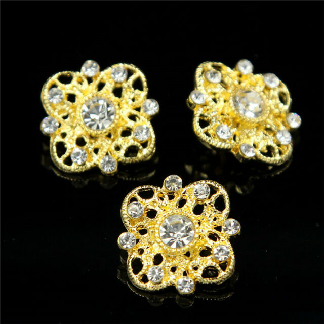 20 X Deluxe Clear Glass Rhinestone Flower Buttons Gold Tone Sewing Craft