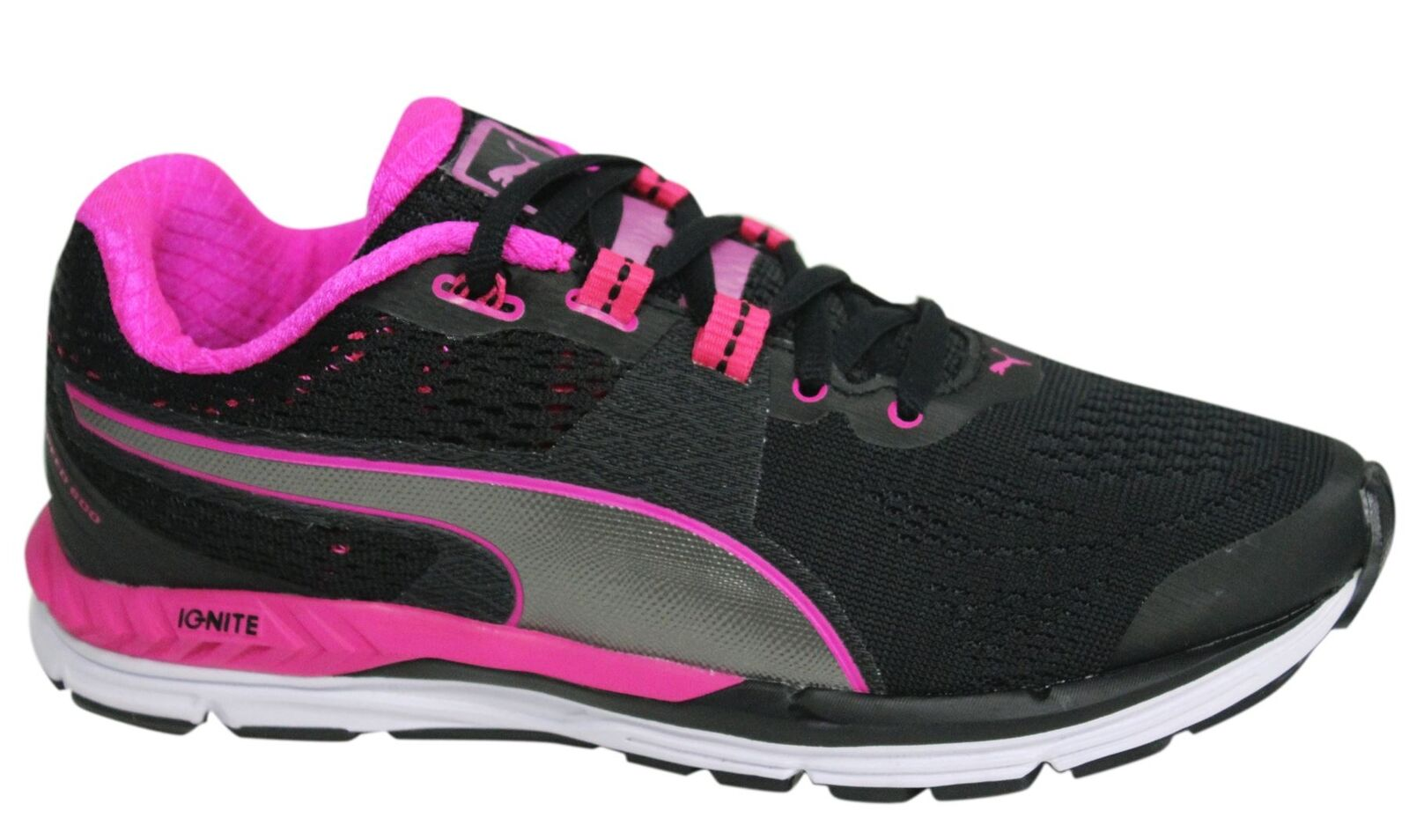 Puma Speed 600 Ignite Lace Up Black Pink Womens Textile Trainers 188789 07 M8