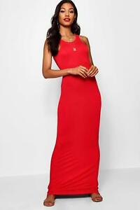 99792372b904 Image is loading BNWT-Boohoo-Ladies-Red-Jersey-Maxi-Dress-Size-
