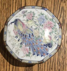 Vintage-Trinket-Dish-Made-In-Japan-Peacock-Design-9-5x5-Cm