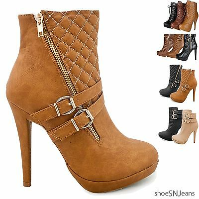 New Women Fashion Quilted Ankle Buckle Booties Platform Stiletto High Heel Shoes