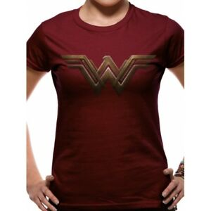 e9c4df968 Batman V Superman - Wonder Woman Logo SKINNY B C Maroon Small Tshirt ...