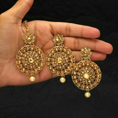 Indian Gold Kundan Tikka Tika Headpiece earrings Set ** UK SELLER**