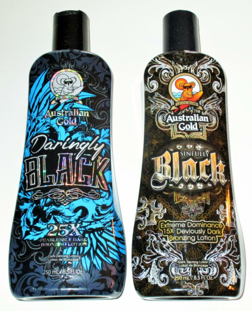 LOT OF2 DARINGLY BLACK SINFULLY BLACK Dark tanning Bed lotion by AUSTRALIAN GOLD