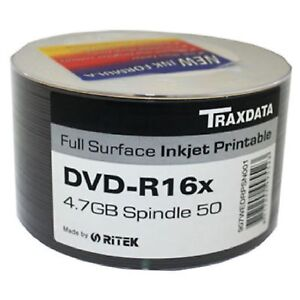 50x-Ritek-Traxdata-DVD-R-16x-Full-Surface-Printable-Discs-4-7GB-Spindle-Pack