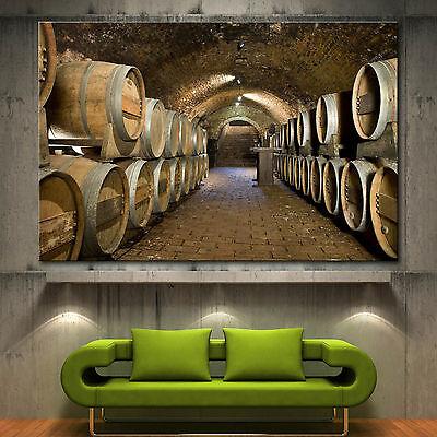 Wall Art Canvas Print Wine Cellar Barrels Picture Fine Home Decor Prints