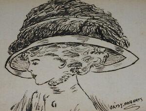 Jugendstil-Damen-Portraet-Gemaelde-Daisy-Roberts-Dame-mit-Hut-um-1900