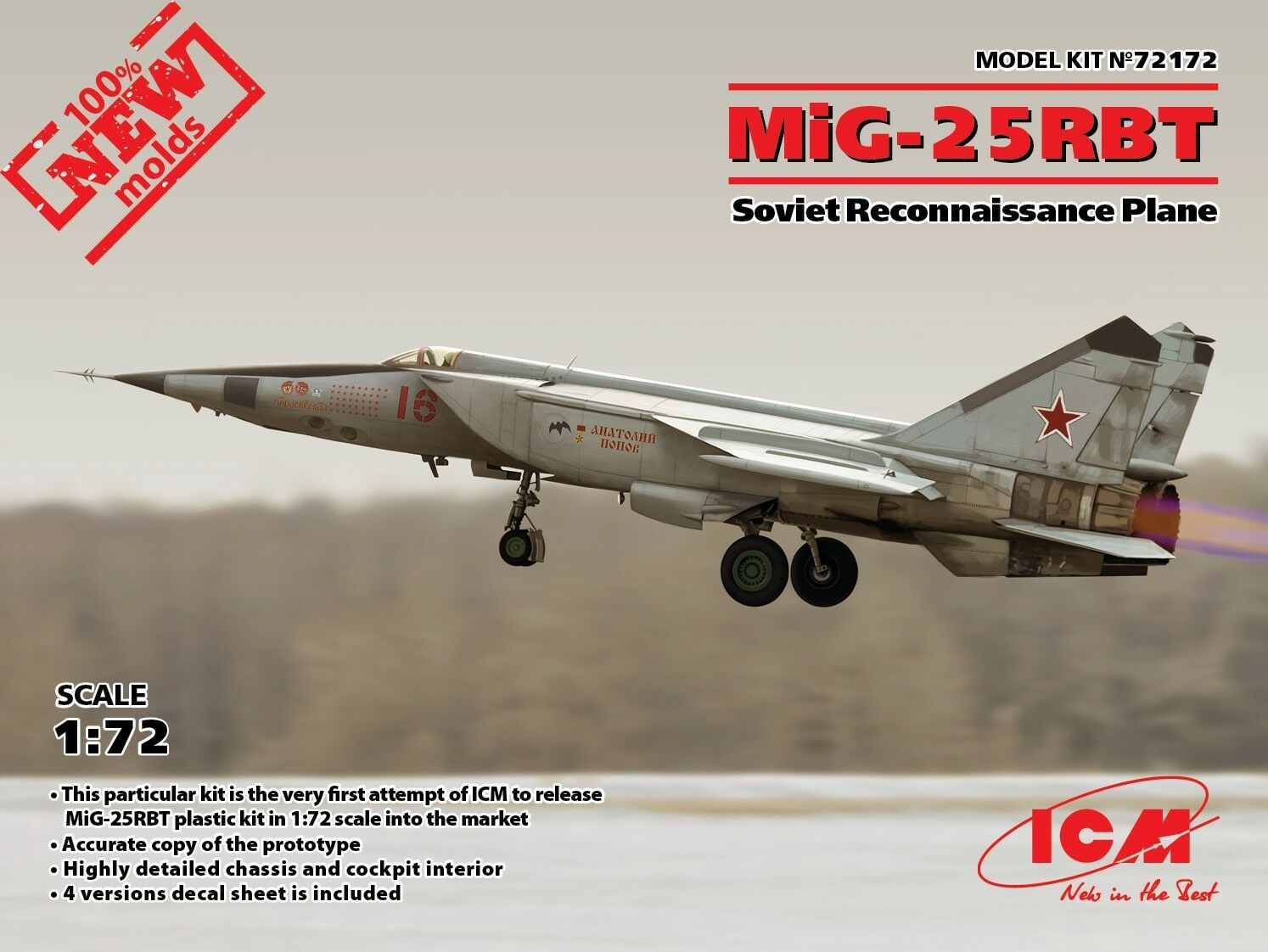 ICM MODELS 72172 RUSSIAN RECONNAISSANCE PLANE MIG-25RBT MODEL KIT 1 72 NEW
