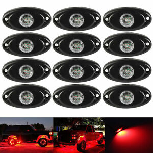 12X Red 9W CREE LED Rock Light for JEEP Marine Wrangler Off-Road Under Body Lamp
