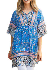 UK-Size-8-10-Ladies-Blue-and-Ivory-Long-Short-Sleeved-Gypsy-Tunic-Top