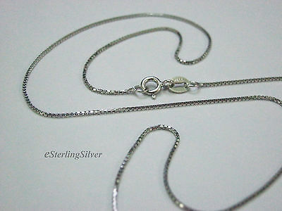 """925 Sterling Silver Box Link Chain / Necklace - 18"""" Inches, 1.7 Grams, 0.8mm"""