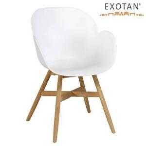 teak holz kunststoff sitzschale stuhl garten terrasse k che wetterfest weiss ebay. Black Bedroom Furniture Sets. Home Design Ideas