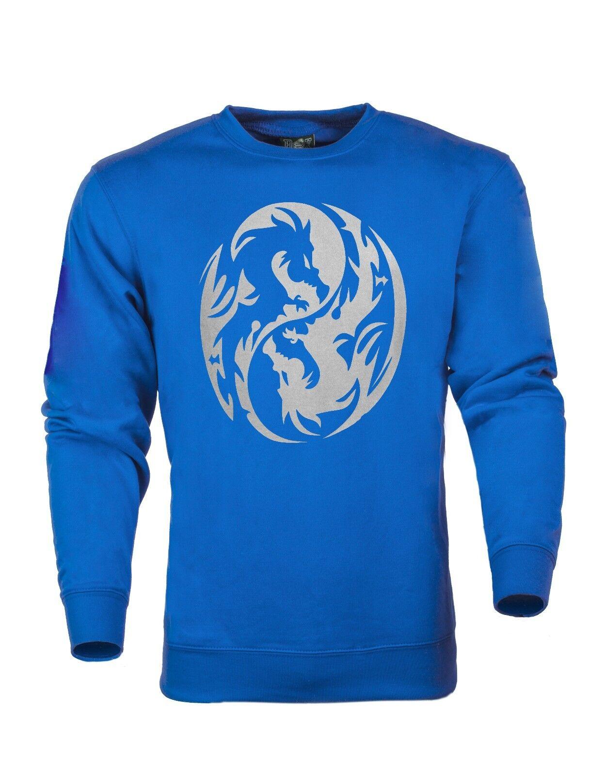 Ying Yang Symbol Silver Logo Dragon Hoodie Sweatshirt S 3XL