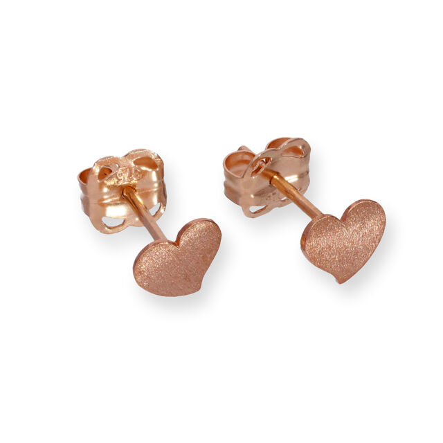 Real 375 9ct Rose Gold Frosted Heart Stud Earrings Love Christmas Winter Studs
