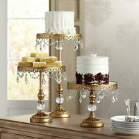 Cake Dessert Stand Antique Gold Crystal Beaded Mirror-top 10 Round 8.5 High