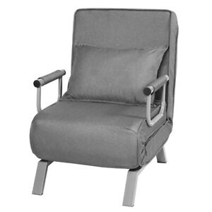 Folding 5 Position Convertible Sleeper Bed Armchair Lounger Chair w/Pillow Grey