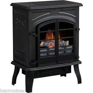 Electric-Freestanding-Mantle-Fireplace-Stove-Heater-Black-NEW