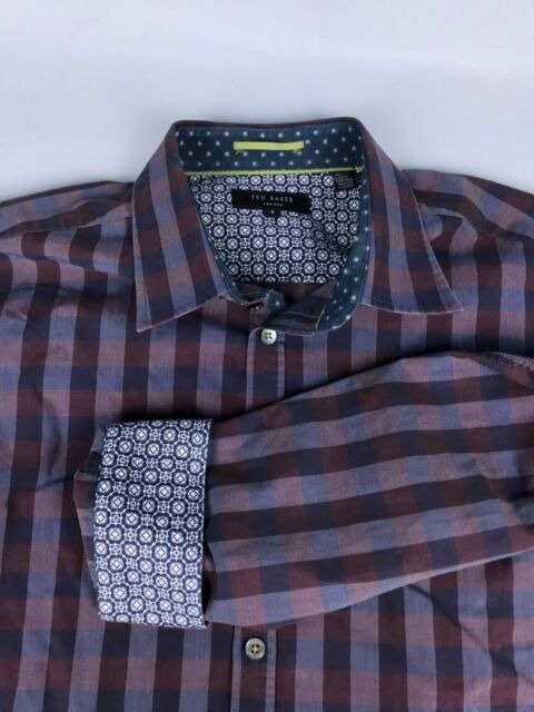3638cedfa Ted Baker London Men's Purple Striped Long Sleeve Button Down Contrast Shirt  4