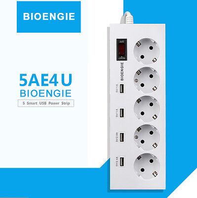 5-Fach Überspannungsschutz Steckdosenleiste Mehrfachsteckdose mit USB Port 1,8m