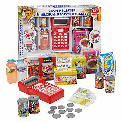Play Toy Cash Register With Light & Sound Scanner Food Shopping Fun Money Xmas