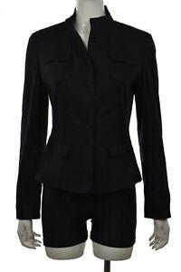 Tahari Womens Jacket Size 6 42 Navy Blue Solid Blazer Long Sleeve Linen Work