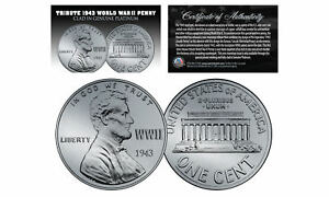 1943-TRIBUTE-Steelie-WWII-Steel-PENNY-Coin-Clad-in-Genuine-PLATINUM-Lot-of-3
