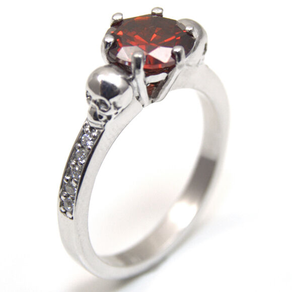 Skull Ring 6 Claw 2ct Round Garnet Diamond-Unique with Accents 9ct gold