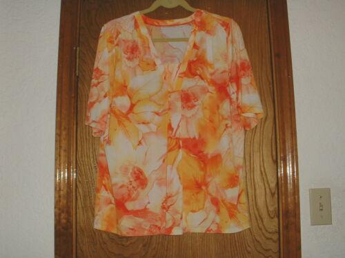 Women's Susan Graver Yellow/Orange Abstract Floral