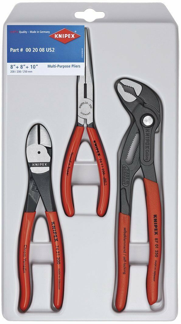 Knipex Tools 00 20 08 US2 Long Nose, Diagonal Cutter, and Cobra Pliers, 3 Piece