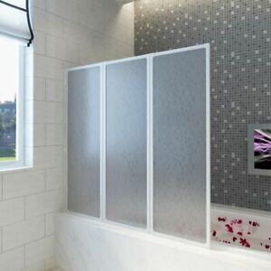New-Shower-Door-Bath-Screen-Wall3Panels-Foldable-Aluminium-Frame-Universal-Fit