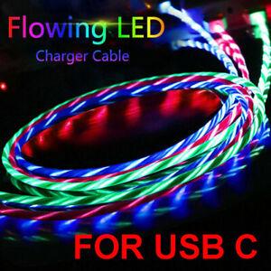 LED-luz-intermitente-que-fluye-visible-USB-Cable-cargador-de-tipo-C-C-Carga-Cable