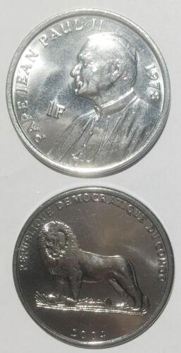 Congo 1 Franc PAPE JEAN PAUL II and Lion 2004 25mm Coin UNC