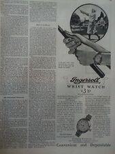 1928 Ingersoll Wrist Radiolite Watch Sports Golfer Golfing Original Ad