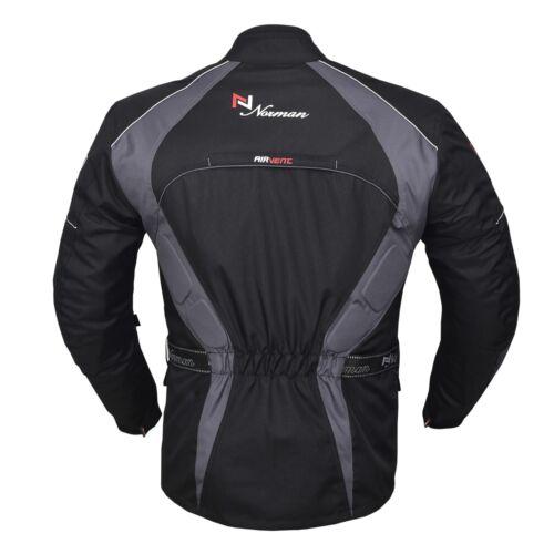 Grey//Black Men/'s Motorcycle Motorbike Jacket Waterproof Textile CE Armoured