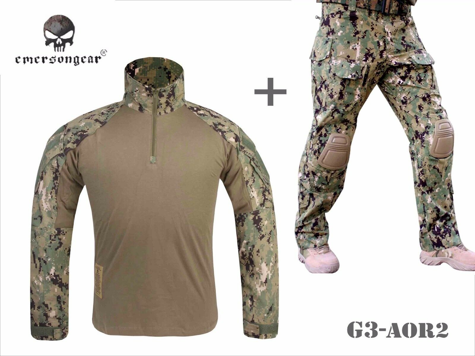 Emerson Airsoft Hunting BDU  Uniform Combat Tactical G3 Uniform and Knee Pad AOR2  with 100% quality and %100 service