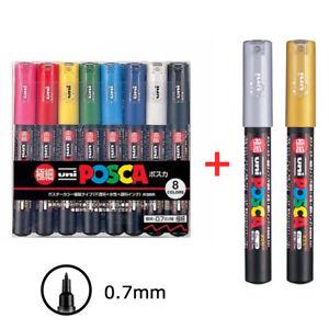 Extra Fine Point PC-1M8C Uni-posca Paint Marker Pen Set of 8