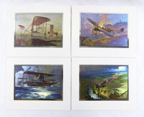 Vintage Mayo Olmstead Aerial Pioneers Color Foil Etch Print Set Four Print Set
