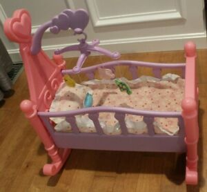 Lovely Toddlers Baby Doll Cradle Crib Rocking Bed for Mellchan Dolls Toy