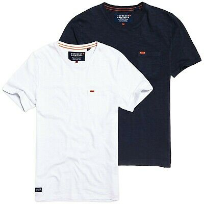 Superdry T-Shirts Beach Buoy Navy Superdry Dry Originals Pocket Tee White