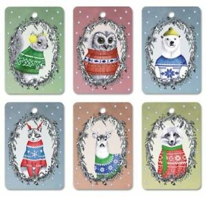 Christmas-Sweater-Xmas-Gift-Tag-Set-of-6-Animals-in-Kitsch-Holiday-Jumpers