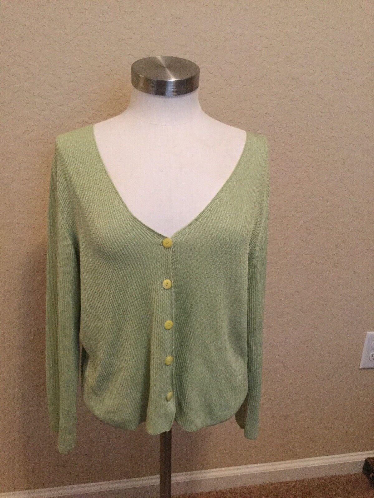Celery Green Bella Collezioni for Trillion  Size 46 Silk Button Down Sweater J