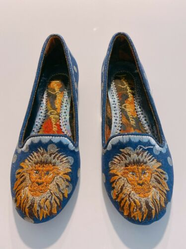 Irregular Choice Blue Lion Loafers Size US5.5