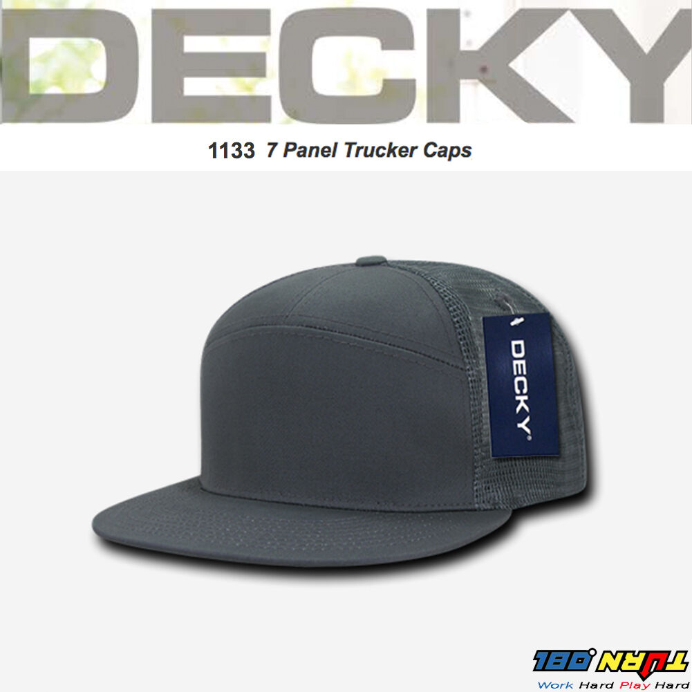 d61ea1297f435 DECKY 7 Panel Trucker Hat Flat Bill Mesh Cap Snapback MOTO Hats One Size   1133
