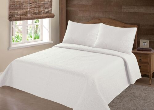 23PC IVORY NENA BED BEDSPREAD QUILT SET COVERLET STIPPLING STITCHE IN 4 SIZES