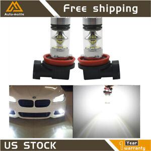 2x H11 H8 H16 100W 6000k Super White Fog Lights 2323 LED Driving Bulbs DRL