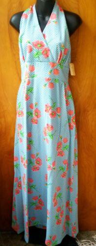 Vintage 1970s Halter Maxi Dress Sears Blue Chevron
