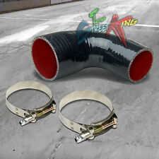 """2.5-3""""3-PLY 90 DEGREE ELBOW TURBO/INTERCOOLER SILICONE COUPLER HOSE+CLAMPS BLACK"""