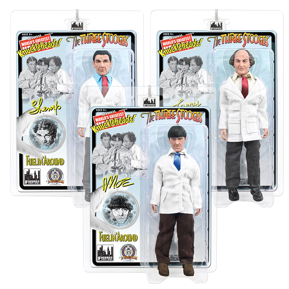 The Three Stooges Retro Style 8 Inch Action Figures Fuelin' Around Set of 3