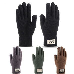 Men-039-s-Knitted-Touch-Screen-Gloves-Winter-Wool-Plush-Thick-Outdoor-Warmer-Gloves